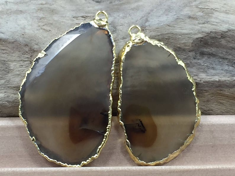 Dyed Gold Plated Brown Geode Slice Brown Geode Slice Pair Brown Agate Slice Black Agate Slice Pair Brown Agate Slice