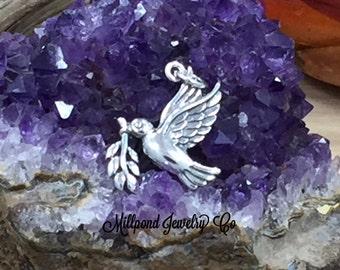 Peace Dove Charm, Dove Charm, Dove Pendant, Peace Dove Pendant, Sterling Silver Charm, Peace Charm, Christmas Charm, PS01645