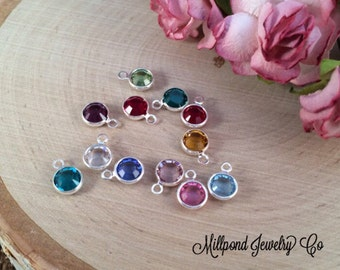 Birthstone Charms, Connector Charms, Bezel Birthstone Charm, Crystal Birthstones, Silver Plated Charms, 5 Pieces