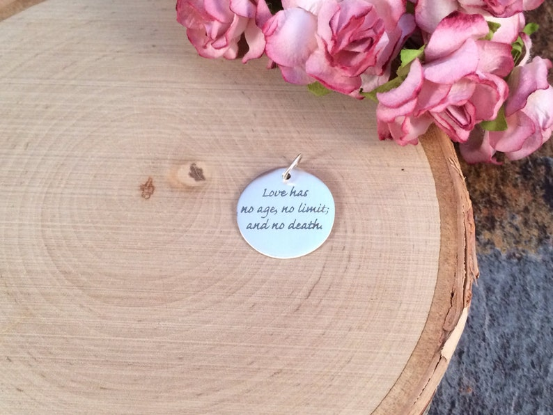 Silver Charm Love Has No Age Charm Quote Charm Sterling Silver Charm Words Charm