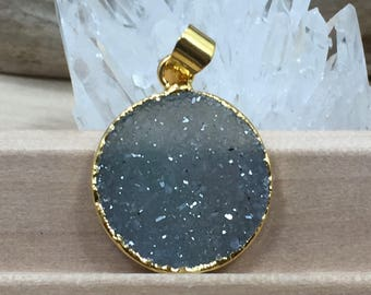Round Druzy Pendant, Round Cluster Pendant, Agate Druzy Pendant, 18K Gold, Natural, PG0937C