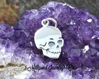Skull Charm, Skull Pendant, Silver Skull Charm, Sterling Silver Skull Pendant, Halloween Charm, Bones, Skeletons, PS01681