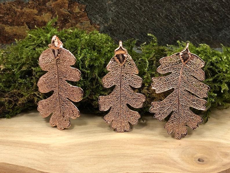 Nature Pendant Leaf Pendant Rose Gold Oak Leaf Rose Gold Dipped Oak Leaf Pendant Oak Leaf Pendant