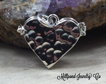 Heart Locket, Small Heart Locket, Heart Locket with Hammered Finish, Heart Charm, Sterling Silver Locket, Small