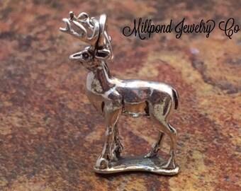 Deer Charm, Buck Charm, Deer Pendant, Sterling Silver Charm, Sterling Silver Pendant, Animal Charm, PS0629