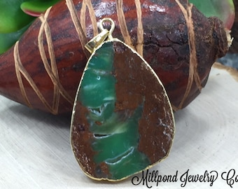 Chrysoprase Pendant, Chrysoprase Gold Plated Pendant, Teal Pendant, Medium to Large, One of A Kind, Pendant #9 is The Last One, PG0323
