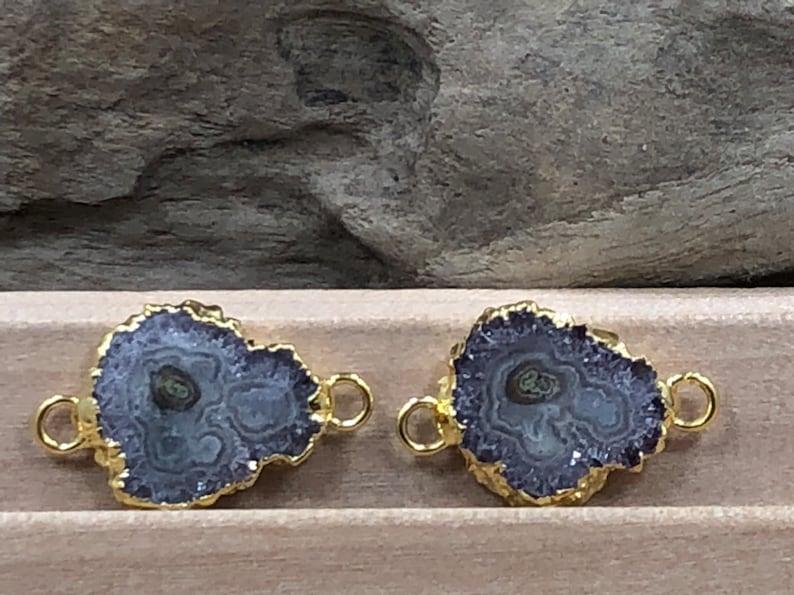 Amethyst Connector Stalactite Connector 24 Karat Gold Amethyst Earring Pair Amethyst Earrings Stalactite Earring Pair PG09891Y5