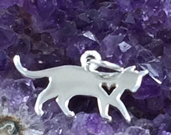 Cat Silhouette Charm, Cat Charm with Heart, Sterling Silver Cat Charm, Animal Lover Charm, Animal Lover Pendant, Animal Charm, PS01496