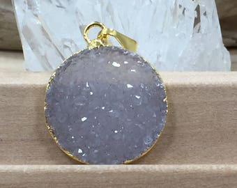 Round Druzy Pendant, Round Cluster Pendant, Agate Druzy Pendant, 18K Gold, Natural, Clear, PG0937G