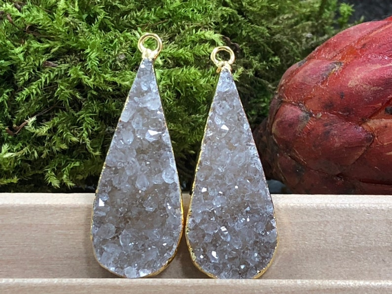 Drusy Teardrop Druzy Pairs 18K Gold Plated Druzy Earring Pairs Teardrop Druzy Earring Pair PG0975AP18 Druzy Natural Teardrop Druzy