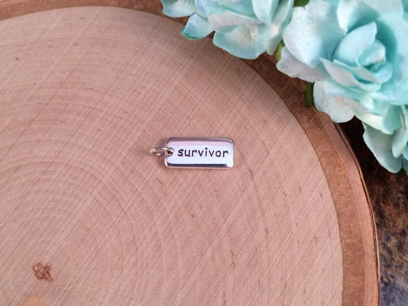 Word Tag Survivor Pendant Cancer Survivor Charm Cancer Survivor Jewelry Sterling Silver PS01155 Word Charm Survivor Charm
