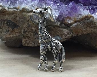 Sterling Silver Charm, Giraffe Charm, Giraffe Pendant, Sterling Silver Giraffe Charm, Animal Lover Charm, Animal Charm, Zoo Charm