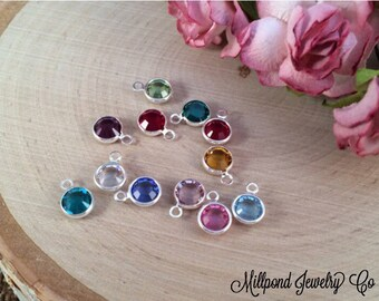 Birthstone Charms, Connector Charms, Bezel Set Birthstone Charms, Crystal Birthstones, Silver Plated, 60 Piece Set, 5 of Each Month