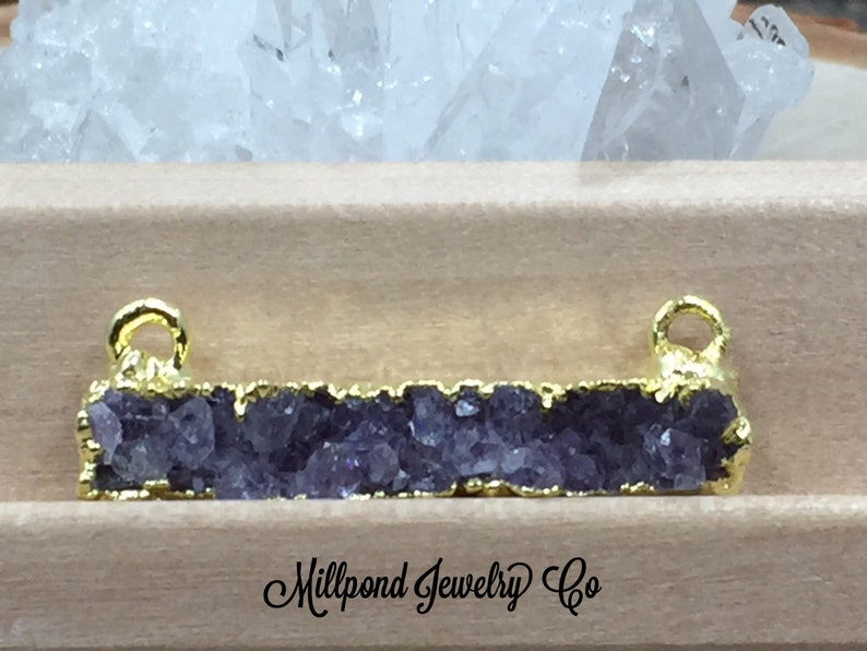 PG0924H Bar Connector 18K Gold Plated Connector Natural Purple Druzy Bar Connector Druzy Rectangle Connector Druzy Stick Connector