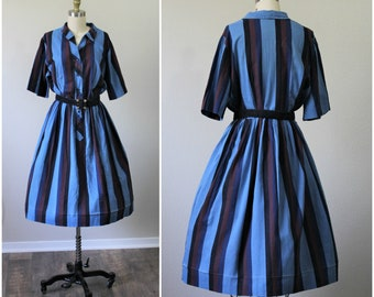 Vintage 40s 50s Cotton Day Dress Plus Size Rockabilly PinUp Bombshell // Modern Size Large 14 16   // Pinup Girl