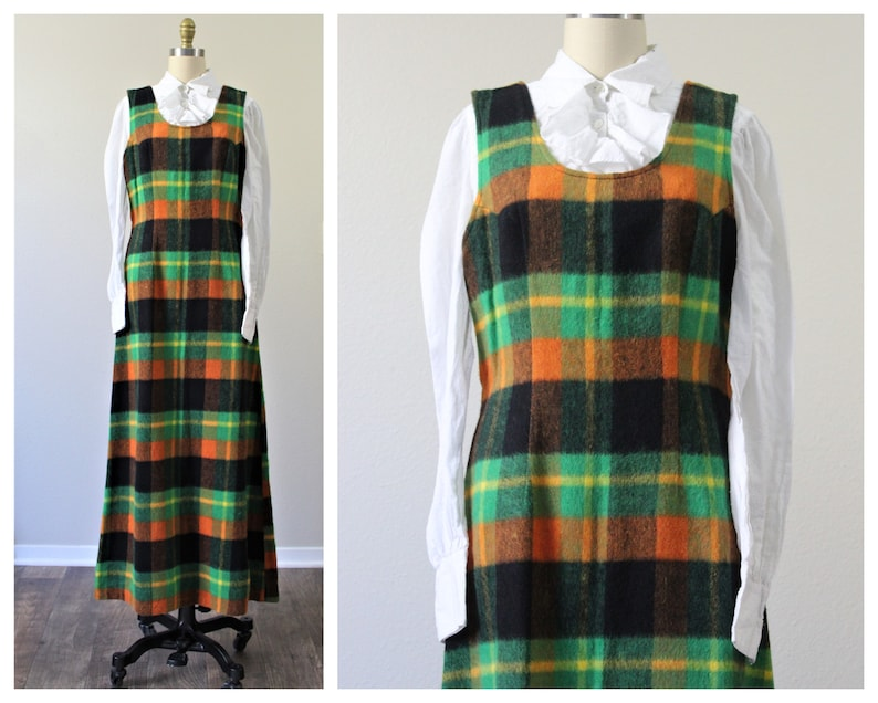 Vintage 1960s 70s Bold Orange Green Black Plaid Floor Length Jumper Dress Maxi   Modern Size s med 6 8
