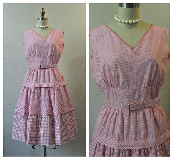 Vintage 1950s Shelby Pink White Gingham Picnic Che
