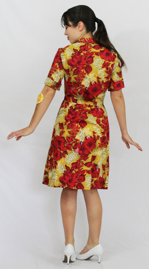 Cuffed Smith Vintage Sleeve Metal Dress Hibiscus Zip Up Day 40's Front Hawaiian NWT Miss UNWORN Red Pin SwqIHw7P