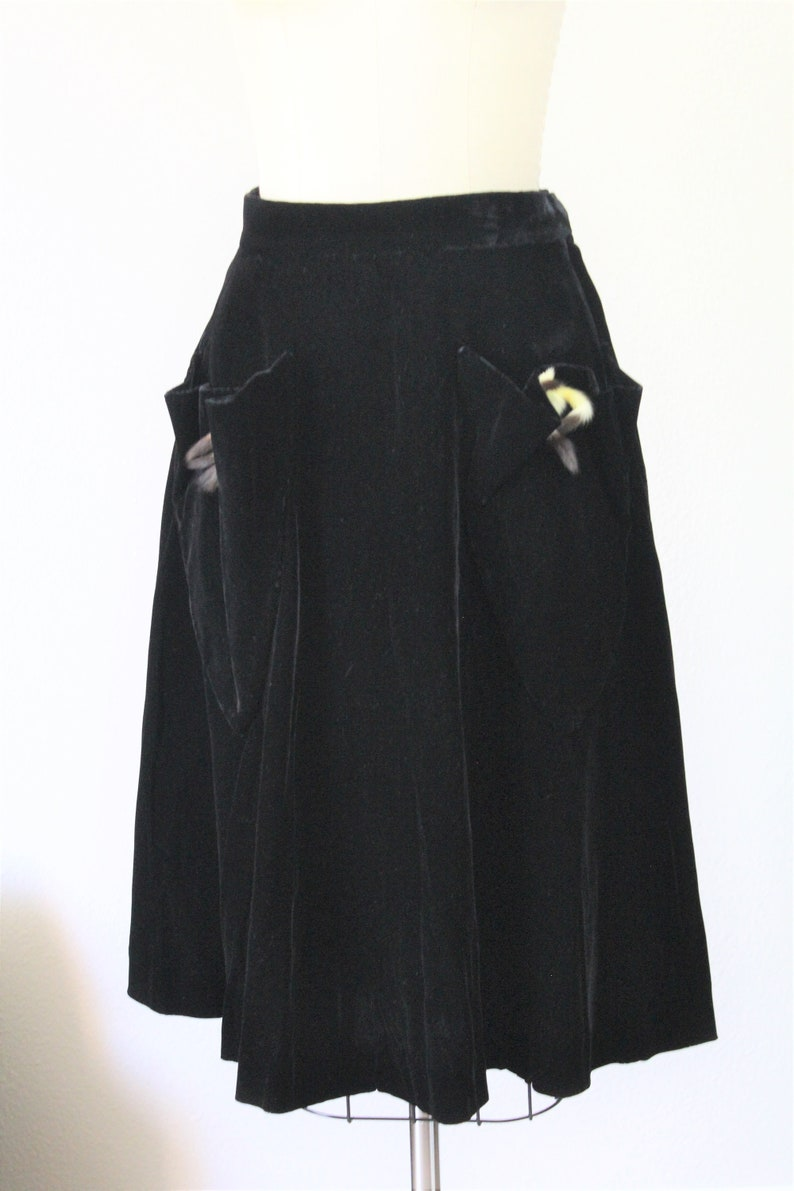 00d3cb842720 Vintage 1940s Black Velvet Skirt with Fur Ermine mink Tails on | Etsy