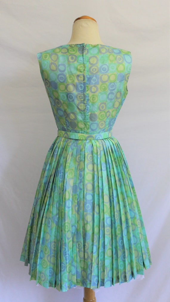 MAGNIN Modern Size Blue S I XS SILK Rockabilly 2 4 Pinup 60's Sun Vintage California PinUp Bombshell 50s Dress Girl Aqua 6qOt7t