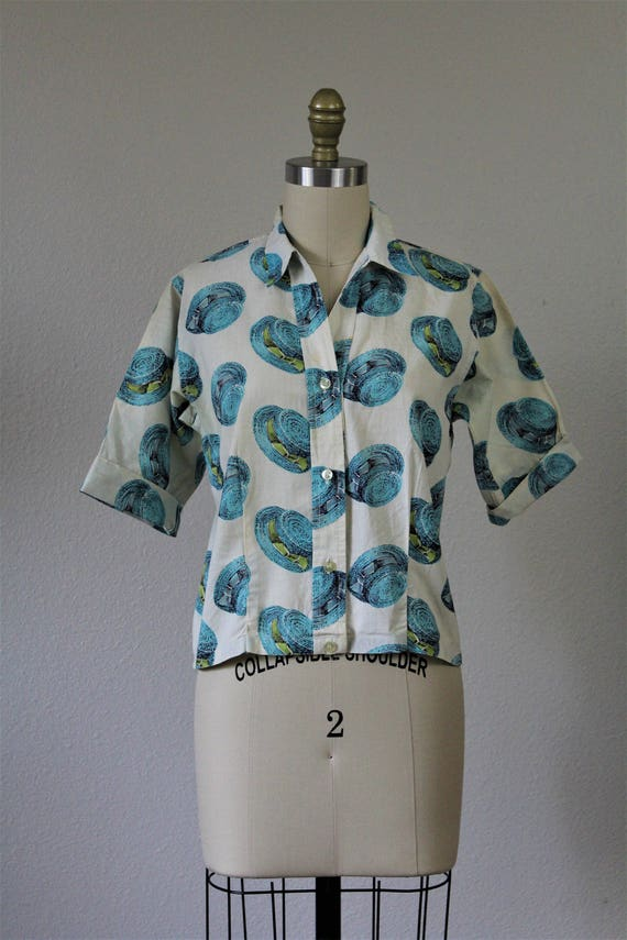 Modern US Fashionality Unique Straw 4 2 Vintage Shirt Small Hats Novelty Rockabilly XS 6 Blouse Miss Fabric 50's Top Cotton 60's 6ZxxFwqAf