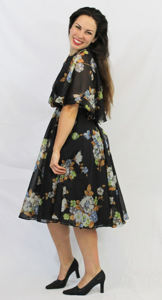 Vintage Flutter Collar of California Diamond Shawl Skirt 60's Sleeve Lilli Floral Swing Black 70's Dress r7PWrqnC