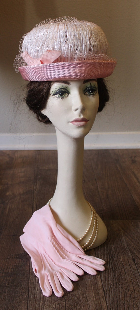 Vintage 1950s 60s Pink Raffia and Straw Hat rolled