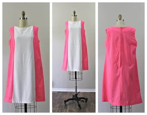 Vintage 1960s MCM Color block neon pink white shif