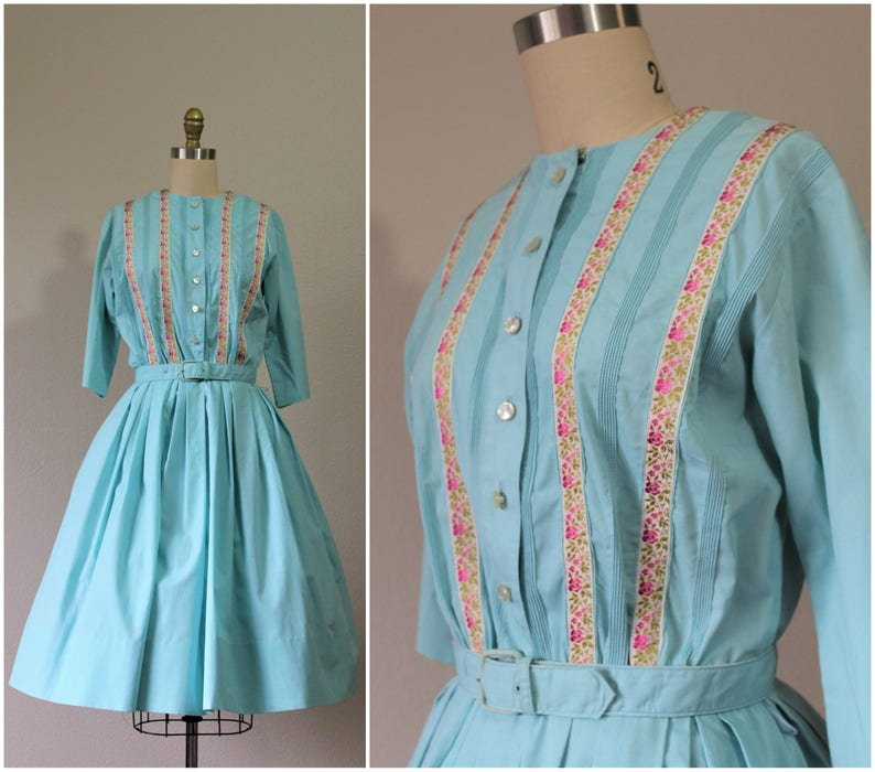 Vintage 50s Serbin of Florida Aqua pink rose Ribbon Cotton Rockabilly PinUp Bombshell Sun Dress   Modern Size s m  6-8  Pinup Girl