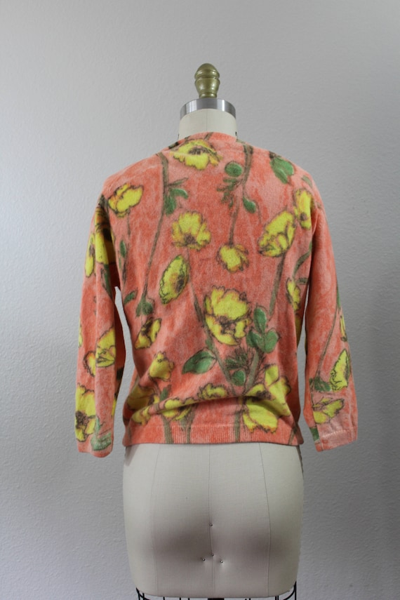 Vintage 50's Poppy Tangerine Screen Print Cardigan Sweater DARLENE Minklam Lambswool Angora Rabbit Mink Fur pin up