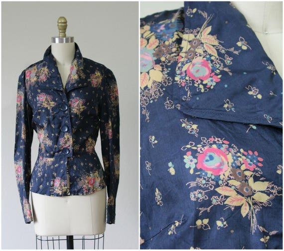 8 Silk Shirt Vintage Floral US 40's Peplum Rose 30s 6 Blouse Bouquet Navy Small Medium qp8Erw6px