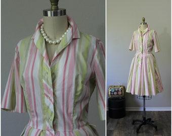 Vintage 50s 60s Fritz of California Cotton pink striped shirt PinUp Bombshell day Dress  // Modern Size medium  6 8 // Pinup Girl
