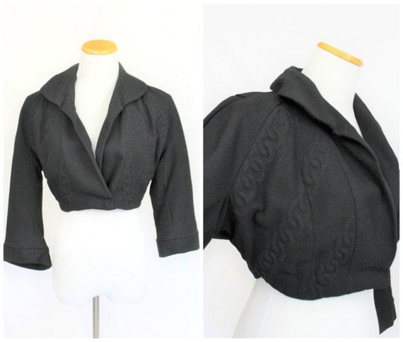 Vintage 40/'s 50/'s Black curly RIBBON Soutache Crop bolero shrug Jacket coat cardigan gorgeous!