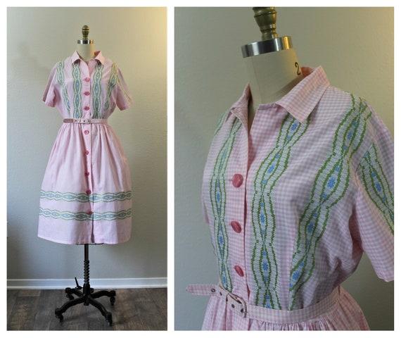 Vintage 1940s 50s Kenrose Pink Gingham Embroidery