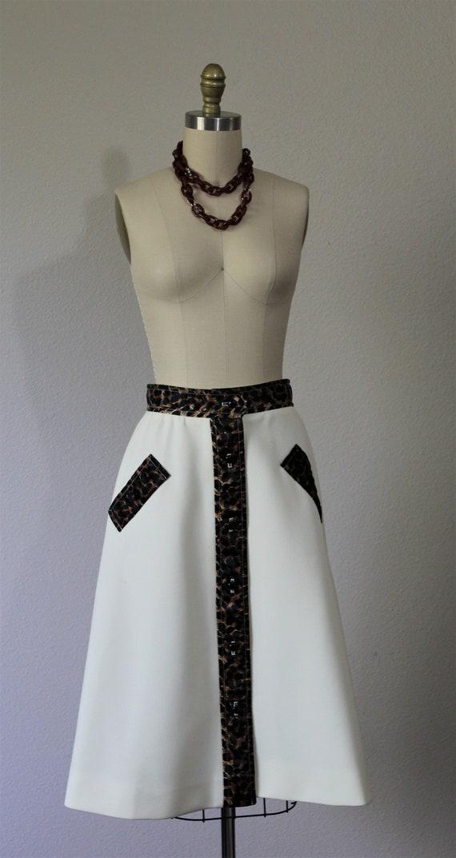 print Size 60's size set 6 Vintage animal coat skirt leopard trim Small Cape one US 4 Ann Knits Lilli 6xq4qSFw7