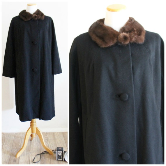 Black Mink Wool 50's with Brown Fur Swing 60's Evening Ann Lilli Collar Coat Vintage SwFPqIS