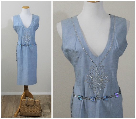 Vintage 60's Fancy Chambray Blue Cotton Day Wiggle
