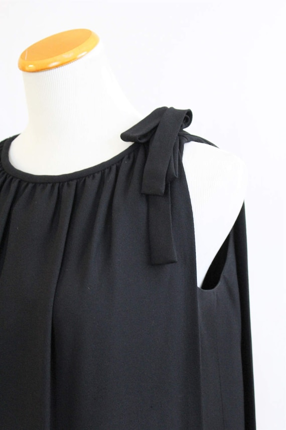 Hollywood Sophisticated Black Dress Vintage Sheath Drapery Cocktail 60's Waterfall Back Designer MANCINI Event California Sw8xgRq