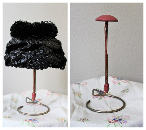 Vintage 40s 50s Antique wood store hat display //