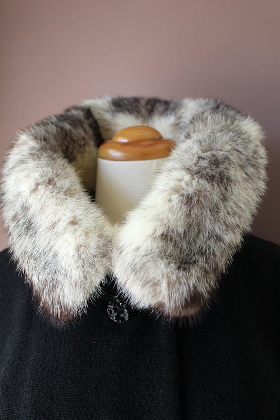 White Ring Wool Wedding BLACK MINK Fur Real Vintage Black Collar 60's COAT Princess Cross 50's fzcqpRwqO