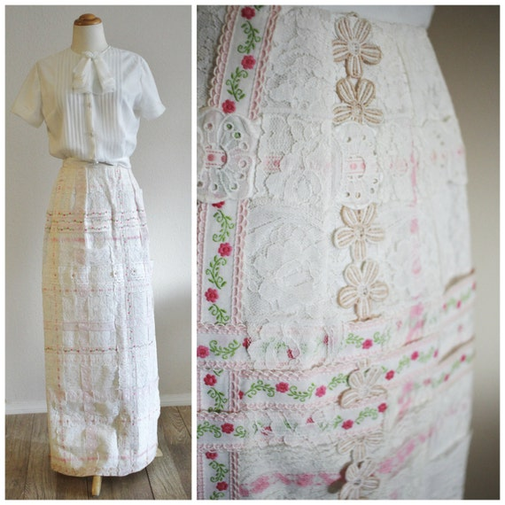Fancy Marcus Trophy Room of a Maxi Daisy Petite Rose Solid RIBBON Skirt KIND Pink 60's Neiman Lace ONE Vintage 70's ZaET1E