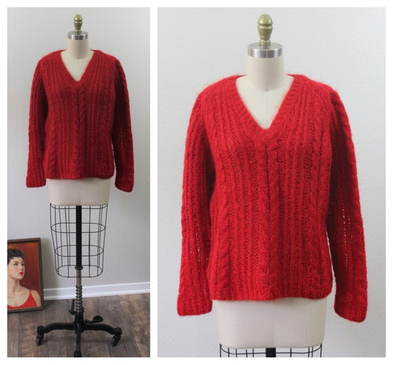 Vintage 1950s 60s True Red Mohair wool cable knit