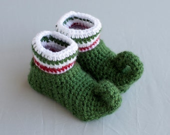 Elf Booties, Elf Baby Shoes, Elf Shoes, Christmas Shoes, Holiday Boy Shoes, Crochet Elf Shoes, Boy Shoes, Boy Booties, Photo Prop.
