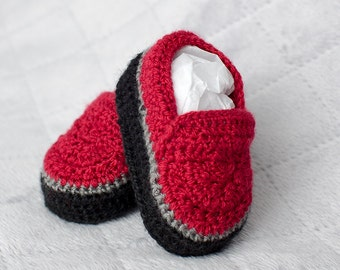 Baby Boy Shoes, Boy Shoes, Red Shoes, Red Boy Shoes, Boy Loafers, Crochet Boy Shoes, Crochet Boy Loafers, Crochet Boy Booties, Wedding Shoes