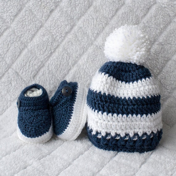 Baby Boy Set Crochet Baby Boy Hat and Booties Set Pom-pom | Etsy
