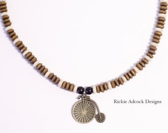 Penny Farthing Wooden Beaded Necklace