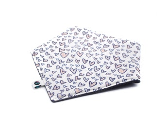 Neutral Hearts Baby Bib: Handmade reversible drool bib for babies | Gender neutral baby shower gift | Scarf style bandana bib