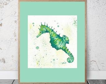 Seahorse Watercolor Painting, Green Seahorse Painting, Seahorse Print, Green Seahorse Wall Art