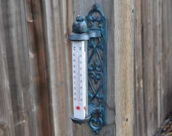Bird Thermometer. Bird Decor. Garden Decor. Bird art. Bird Wall Decor. Thermometer. Wall Thermometer. Wall Decor. Garden Decor.
