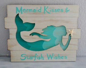 Charming Mermaid Wall Decor. Mermaid Decor. Mermaid With Shell. Mermaid. Beach Decor.  Nautical Decor. Coastal Decor. Nursery, Little Girls Room